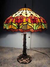 MEYDA # E103910 TIFFANY 2 LIGHT MAHOGANY BRONZE COLONIAL TULIP TABLE LAMP #109