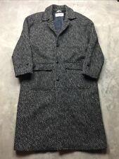 Vintage YVES SAINT LAURENT TWEED Wool Herringbone COAT Trench 40 Jacket Long