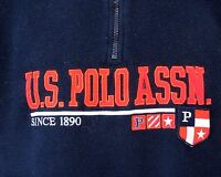 US POLO ASSN L Jacket Half Zip Fleece Coat VTG Navy Flags Embroidered Large Logo