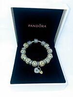 Genuine PANDORA MOMENTS Silver Bracelet (18cm) with Charms