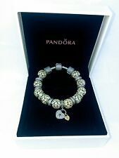 Genuine PANDORA MOMENTS Silver Bracelet (18cm) with Charms
