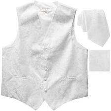 "New Men's Formal Vest Tuxedo Waistcoat_2.5"" necktie set paisley wedding White"