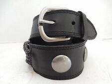 BETSEY JOHNSON WOMENS WIDE BLACK BRAIDED LEATHER BELT WITH SILVER MEDALLIONS