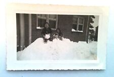 OLD PICTURES RECOVERED FROM ESTATE TWO BOYS KIDS FRIENDS PLAYING WITH SNOW BALLS