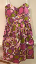 B Darlin Size 11/12 Strapless Dress Circle Print Pink White Purple Green Yellow