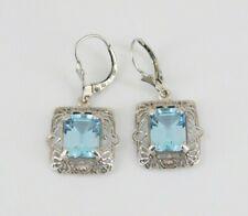 925 Sterling Silver Blue Topaz Filigree Earrings