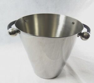 Marquis by Waterford Metal  Stainless Steel Ice bucket Cooler Leather Handles