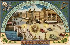 EUCHARISTIC CONGRESS 1932 O'CONNELL ST. DUBLIN IRELAND EMBOSSED COLOUR POSTCARD