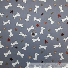 BonEful Fabric FQ Cotton Quilt Gray White Red Navy Blue Yellow Puppy Dog Bone Sm