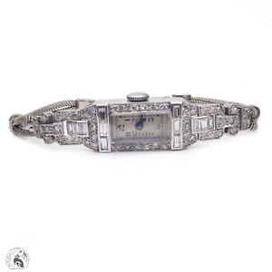 Art Deco antique platinum & 9ct white gold diamond cocktail watch bracelet runs!