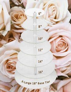"Yestbuy X-Large 7 Clear Acrylic Plate Wedding/Dessert Tower/Display; 18"" Base!!"