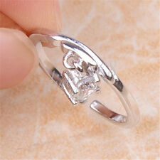 925 Sterling Silver Libra Zodiac Sign Crystal 5mm Open Ring Size 5 5.5 6 H1205