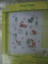 New ListingBucilla Forest Friends Stamped Cross Stitch Crib Cover Complete Kit& Floss