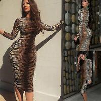 Women Print Dress Long Sleeve Bodycon Slim Party Dresses Cocktail Sundress M ^r