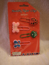 Set Of  4 Frog, Ladybug And Butterflies Paper Clip Bookmarks