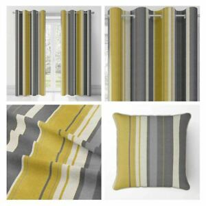 Ochre Eyelet Curtains Whitworth Stripe Cotton Ready Made Lined Ring Curtain Pair