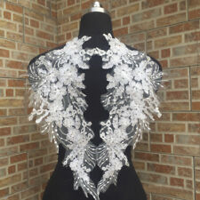 1 Pair Applique Lace Embroidery Trim Sewing Motif Wedding Bridal Crafts DIY