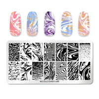 NICOLE DIARY Rectangle Stamping Plate Marble Series Nail Image Templates 096