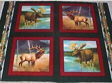 4 Big Game Moose Elk Pillow Panels Fabric 100% Cotton Wildlife