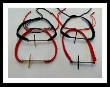 Stainless Steel and Red Cord bracelet with side way Cross Pendant Unisex