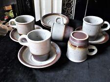 5 x COFFEE CUPS & DEEP SAUCERS SPECKLED STONEWARE & SALT GLAZED RIMS EXCELLENT