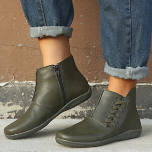Womens Riding Ankle Boots Round Toe Casual Flats Heels Boot Biker Side Zip Shoes