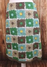 Boden Women's Skirt 100% Cotton Retro Daisy Floral A Line Knee Length Sz. 12