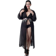Plus Size Lingerie One Size Queen Black Embroidery Lace Georgette Robe   VX3030X