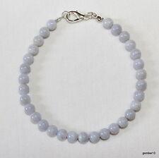 Blue Lace Agate Bracelet 6mm Beads 6 mm Blue Agate Unisex Bracelet