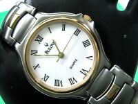 BULOVA SWISS MADE BU6051G MEN'S CASUAL WATCH WHITE DIAL S/S & GOLD PL ANALOG