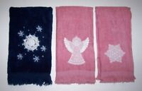 3 Pretty Christmas Holiday Fingertip-Hand-Guest Towels
