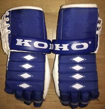 "Vintage KOHO 300 13"" Hockey Gloves Shock Sure Thumb Blue White Senior"