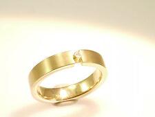 585 Gold, Ring, Gr. 51, 14 Karat Gelbgold, mit echtem Diamanten 0,02 ct