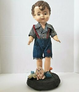 Vintage Boy with Dog and Fish Doll Porcelain Figurine articulated neck 16.5