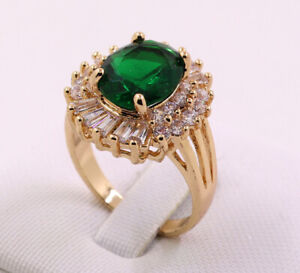 Beautiful Jewelry 3.28ct Natural Emerald 14k Solid Yellow Gold Ring Size 8#