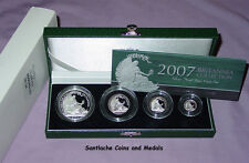 2007 ROYAL MINT SILVER PROOF BRITANNIA FOUR COIN COLLECTION - Low Issue