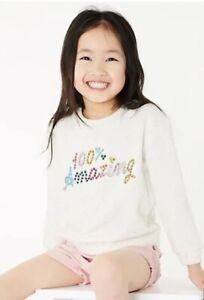 New Ex M&S 100% Amazing Cream Marl Sweatshirt 6-7 Years