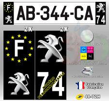 """Stickers Plaque D'immatriculation Fond Noir Logo """"Peugeot"""" 4 pièces 100x45 mm"""