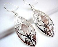 Rose Quartz Marquise Floral Filigree 925 Sterling Silver Dangle Drop Earrings