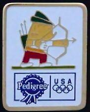 Archery Olympic Pin with Mascot Cobi ~ Barcelona 1992 ~ Sponsor: Pedigree