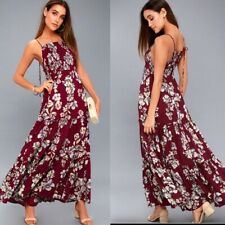 INTIMATELY FREE PEOPLE GARDEN PARTY FLORAL MAXI DRESS NWT SMALL HIPPIE RASPBERRY