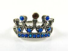 Stunning Garnet & Opal Victorian Deco Sterling Filigree Kings Crown Ring 1034O