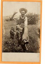 Real Photo Postcard RPP - Proud Farmer in Overalls on Stump with Strawberries