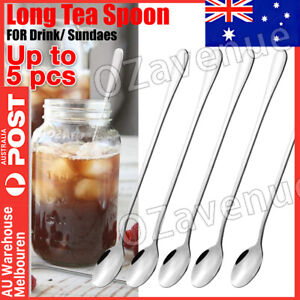 5PCS Long Handled Stainless Steel Coffee Spoon Cold Drink Ice Cream Tea Spoon