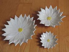 Vtg Christmas White Poinsettia Flower Candy Serving Nesting Dishes Atlantic Mold