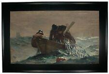 Winslow Homer The Herring Net -Black Gallery Framed Canvas Print Repro 25 x 38