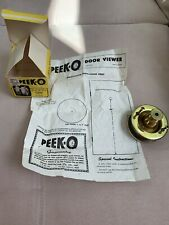 Vintage Peek-O Revolving Door Viewer Box & Instructions Polished Brass Peephole