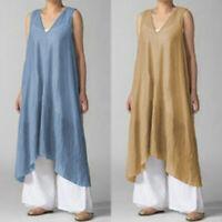 ZANZEA Women Sleeveless Casual Long Shirt Dress Summer Asymmetrical Tank Dress