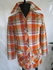 Vintage Leisure Jacket 70's Women Plaid Double Knit Polyester Sz 14