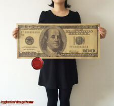 """27.9""""Super Big Huge Dollor 100 USD Classic Poster Old Retro Funny Collection"""